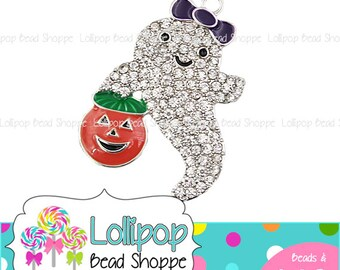 48mm Girl Ghost & Jack O Lantern Rhinestone Pendant Purple Bow Girl Halloween Charm Chunky Necklace Pendant Bubblegum Beads Bling RP182