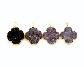 Amethyst Druzy Clover Pendant with 24k Electroplated Gold Edge (S81B2-03)