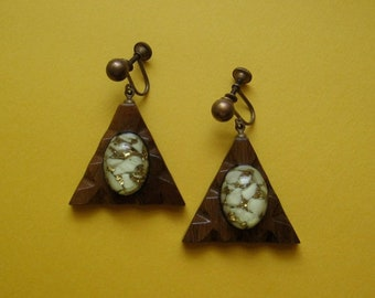 Mid Century Earrings with Confetti Art Glass and Wood