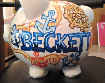 Personalized Piggy Bank Handpainted Nautical Rope Wheel Anchor