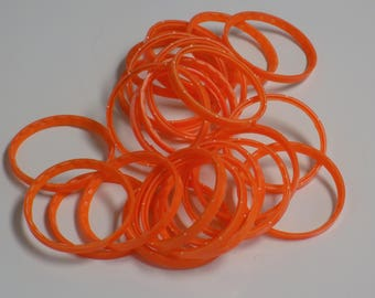 25 Large Orange Plastic Soda Bottle Rings/Safety Seals