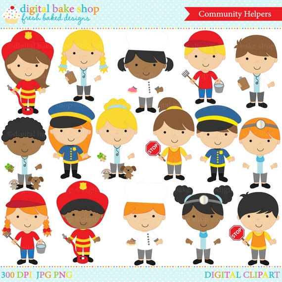 clipart clip art digital community helpers police doctor rh etsy com community helpers clipart nurse community helpers clipart png