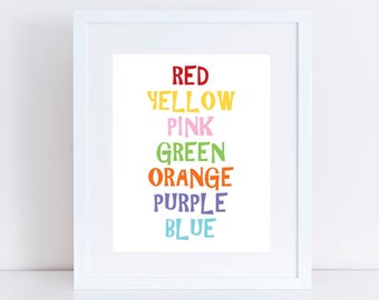 rainbow words colors print - colourful kids nursery art, children, baby girl, baby boy, gender neutral, wall art, multi-colored,  typography