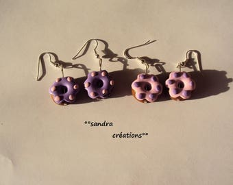 pair purple-pink donut earrings