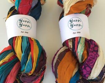 Sari Silk Ribbon, 50g skein, mixed colour, ethical yarn, ribbon yarn, craft ribbon, knitting ribbon, crochet, craft ribbon