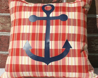 Pillow Anchor Patriotic Plaid