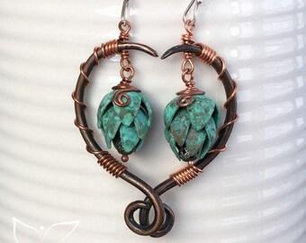 Handmade Copper Hop Earrings, Calypso