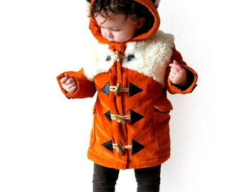 Childrens fox coat orange white Olive and Vince pre order MAY 2018 kids furry woodland fox duffle coat cute baby fox cub jacket furry ears