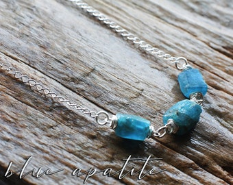 Sterling silver Blue Apatite necklace | Turquoise blue raw stone necklace | Aqua blue gemstone beaded necklace | Blue crystal necklace