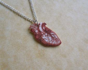tiny anatomical human heart necklace blood red
