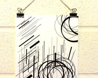 Circles and Lines, black and white, graphic, modern, artwork, print