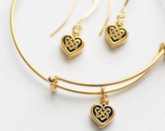 Mother's Day Gift, Gold Celtic Heart Jewelry Set, Gold Heart Expandable Bangle and Celtic Heart Earrings, Gold Bracelet Set, Jewelry Gift