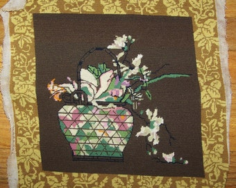 Vintage  Needlepoint Square Or Pillow Top Asian Theme Vase And Flowers