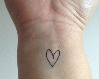 Temporary Handwritten Heart Tattoo