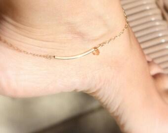 Simple anklet for women -  Gold Bar ankle bracelet - Gold anklet bracelet-Dainty Anklets -Delicate Ankle Bracelet -summer anklet beach