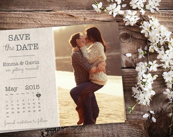 Personalized Save The Date Magnet • Save The Date Card • Save The Date Postcard • Vintage Wedding • Printed