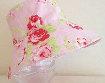 Girls hat in gorgeous pink roses fabric- summer hat, bucket hat