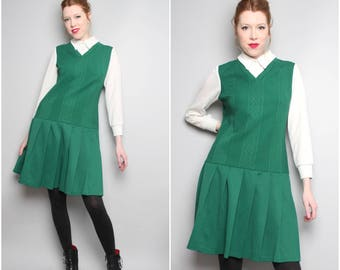 1960s Jonathan Logan Green Drop Waist Dress / Large Size 12