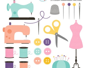 Pretty Sewing Clipart Set - clip art set of sewing items - personal use, small commercial use, instant download