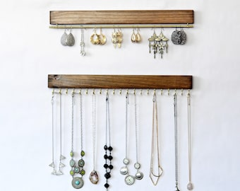 Wall Mount Jewelry Organizer, Necklace Holder and Earring Holder