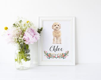 Dog Portrait - Personalised Cockapoo Dog Art Print - personalized pet portrait, cockapoo - dog print - ideal for dog lovers - cockapoo gift