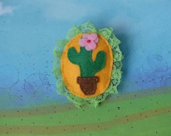 felt kawaii cactus brooch and lace
