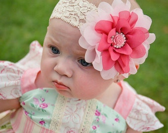 Pink Flower Headband, Pink Baby Headband, Mauve Headband, Lace Baby Headband, Newborn Photo Prop, Pretty in Pink, Baby Shower Gift, Adult