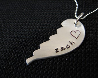 Angel Wing Handstamped Sterling Silver Memory Necklace