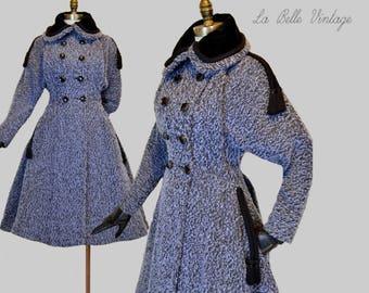 RESERVED***  Lilli Ann Vintage 50s Coat M L ~ Paris Blue Wool ~ Wasp Waist ~ Full Swing Skirt ~ Black Velvet Trim ~ Corded Tassels