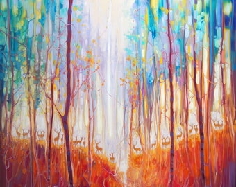 LARGE ORIGINAL Oil Painting - Forest Souls - an autumn forest with deer