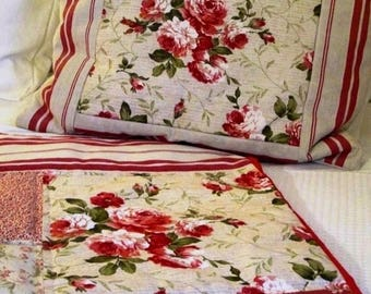 20 % off Shabby Chic Pillow cover big Roses , Vintage mattress fabrics for square pillow cover