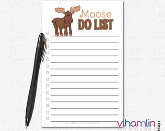 Funny To Do List Notepad - Moose Do List - To Do List Notebook - Cute To Do List - To Do Notepad |  Moose