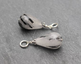 Two Rutilated Quartz Dangles, Charms, Earring Components, Sterling Silver, Wire Wrapped, Pendant, Black and White, Rutilated Quartz, Matched