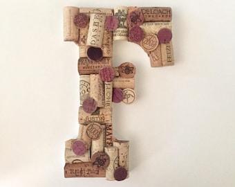 Custom Wine Cork Wall Art - Wine Gifts - Wine Cork Art - Wine Decor - Upcycled Home Decor - Monogram Letter Wall Decor - Housewarming Gift