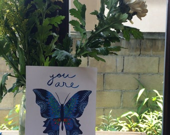 You are Beloved: Butterfly typography print- archival giclee print, watercolor and ink