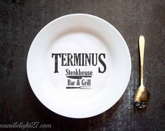 Terminus Bar & Grill, The Walking Dead, Terminus, TWD Gift, Walking Dead Gift, Wedding Gift, Negan, Mothers day gift, Hand Pressed, Plate