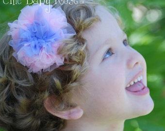 Fluffy Saltwater Taffy Chiffon Rosette Hair Clip or Band by Chic Baby Rose 21 Color Choices