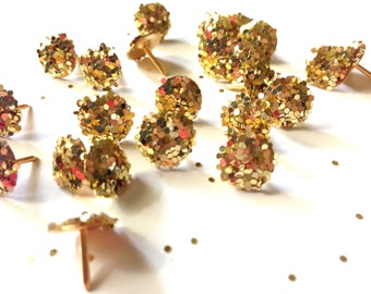 Gold glitter push pins, cubicle decor, pin, thumbtacks, Bulletin Board Decor, cute office supplies, pushpin, pushpins, decorative thumb tack