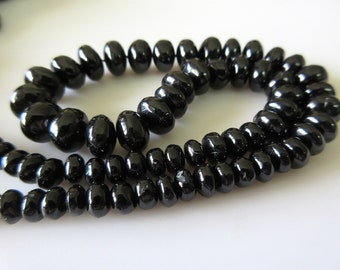 Black Spinel Gemstone Smooth Rondelle Beads, 6mm To 10mm Spinel Beads, 16 Inch Strand, GDS534