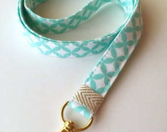 ID badge lanyard , key lanyard , Mint lanyard, fabric lanyard, teachers gift, mint key holder, ID badge lanyard