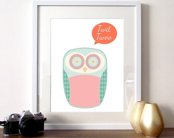 Owl Illustration, nursery print, owl print, owl nursery, cute owl print, patterned owl, bird illustration, owls, geometric owl, art prints