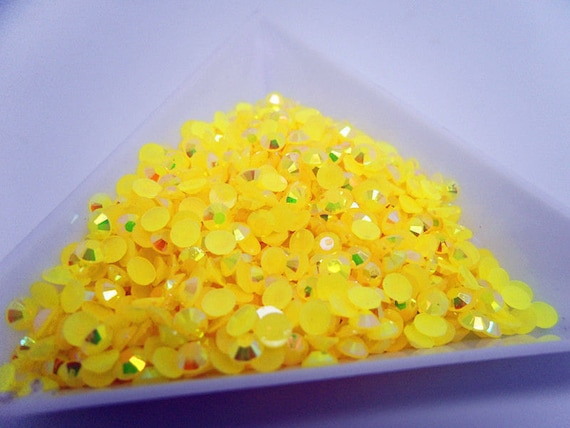 Neon Yellow AB Flat Back Round Resin Rhinestones Embellishment Gems C64