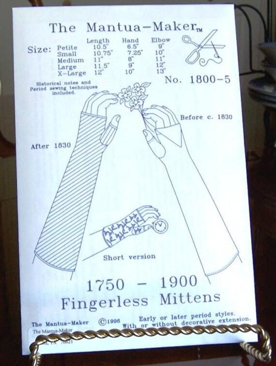 Fingerlose Handschuhe / Handschuhe historischen Schnittmuster