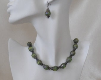 Green Australian Crystal and Gunmetal  Necklace & Earrings