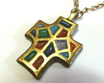 DESIGNER CROSS, Enamel Cross from Israel, Vintage Brass Christian Cross, Colorful Cross with Neckchain, Signed Designer Cross, Mosiac Cross
