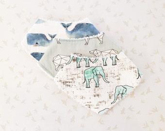 Drool Bandana Bibs - Blue Green Mammals (DESIGNER) / Boy Blue Green Bandana Bandanna Bibdana Bibs, Polar Bears Elephants Whales, Drool Bibs