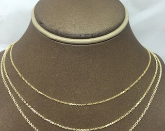 14K Solid Yellow Gold Diamond Cut Cable Chain (Available in Multiple Lengths/Weights/Widths)