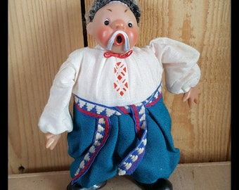 Russian doll, cossack dancer doll from the Soviet Union time, USSR doll from the 60s or 70s, ukranian male doll