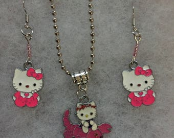 Handmade hello Kitty Pink Necklace and earring set