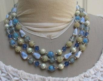 Vintage blue and cream art glass bib 3 strand necklace Japan statement necklace estate find